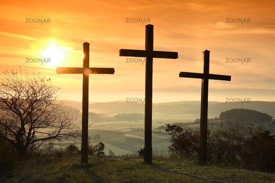 crosses, sunrise, cue state, sunup,