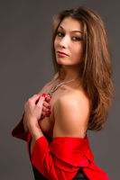 brunette in a red jacket