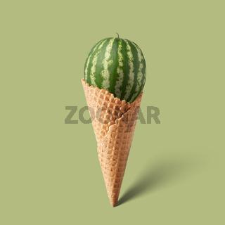 Waffle cornet with watermelon