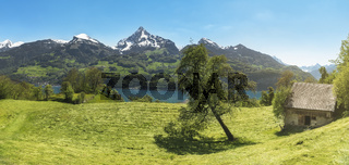 Rustic scenery in the Alps mountains