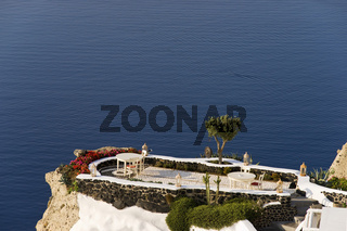 terrace with view to the sea, Santorini
