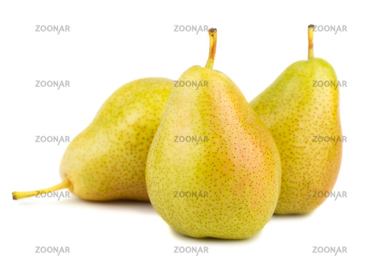 Three ripe yellow pears
