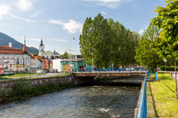 View to the buildings near Revuca river in the city center of Ruzomberok, Slovakia