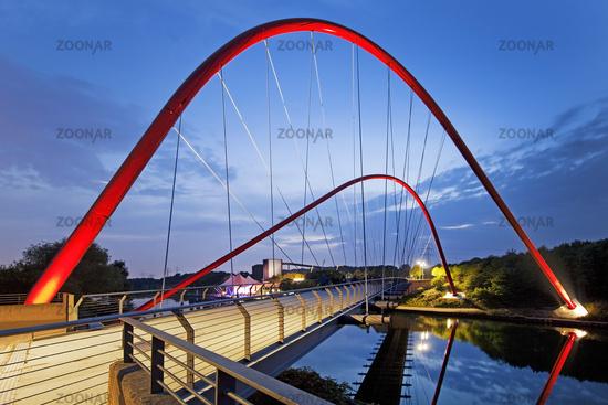 red bridge over chanel Rhein-Herne-Kanal at Nordsternpark, Gelsenkirchen, Ruhr Area, Germany, Europe