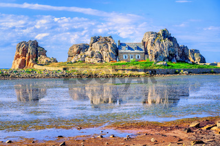 The House Between The Rocks in Plougrescant, Brittany, France