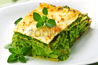 Plate of vegeterian lasagna