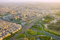 Iran highway, aerial view. Tehran