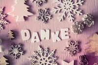 Christmas Flat Lay, Letters With Danke Means Thank You, Instagram Filter