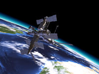 Mir Russian Space Station, in orbit on the earth.