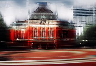 Musikhalle Laeiszhalle in Hamburg, Deutschland, grafisch abstrakt (digital manipuliert)