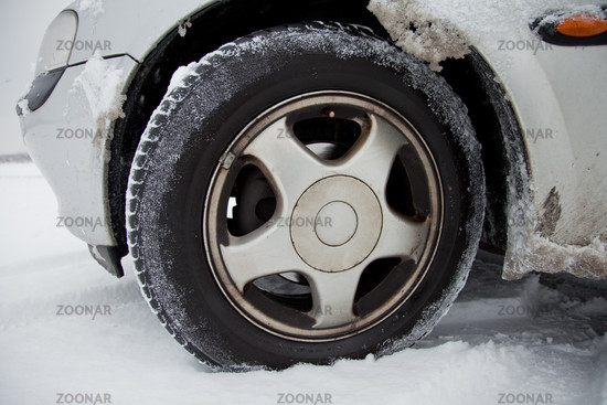 Winter tires with snow