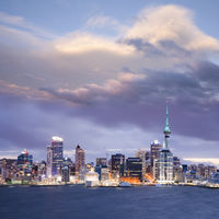 Auckland Skyline Twilight Dramatic Sky