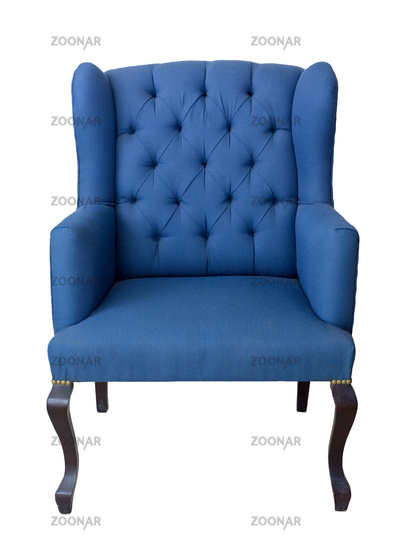 French blue wingback armchair with dark brown wooden legs isolated on white background
