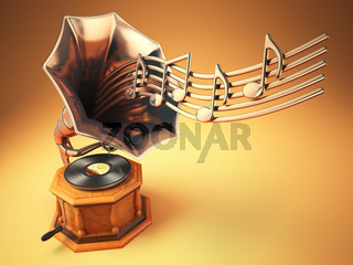 Vintage  gramophone with gold musical notes. Retro background.