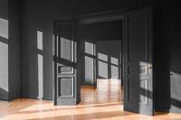 real estate interior empty apartment, new flat black walls
