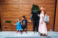 Family having fun on the street