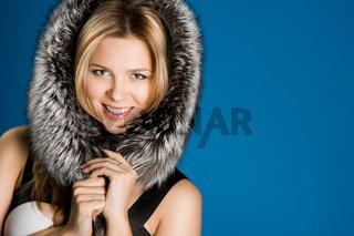 pretty girl with fur on head