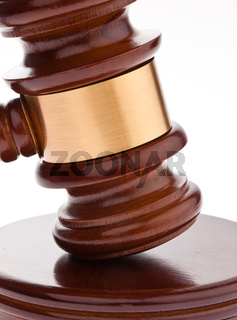 Gavel. Auction hammer in court.