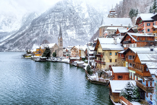 Hallstatt by Salzburg, Austria, traditional austrian wooden town, UNESCO world culture heritage site