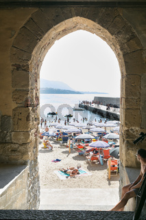 view of the beach in the Sicilian town of Cefalu