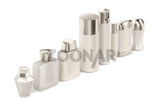 Cosmetic products on white