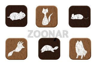 Pet shop wooden icons set with pets silhouettes.