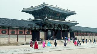 Seoul, South Korea - April 21, 2016: April 21, 2016 the palace doors in the palace in Seoul, South Korea. , One of the three doors in the palace 'Heunginjimun Gate'