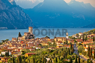 Town of Malcesine on Lago di Garda historic skyline view