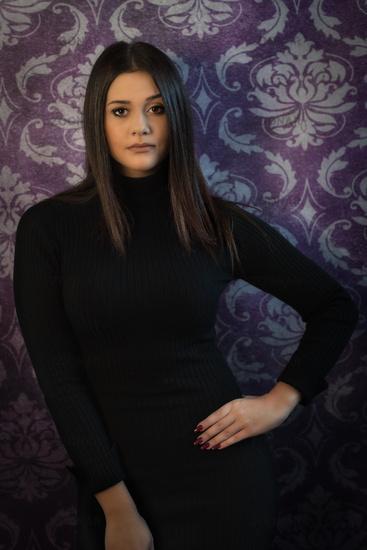 beautiful woman on purple background