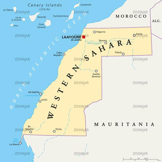 Western Sahara Political Map
