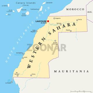 Westsahara politische Landkarte