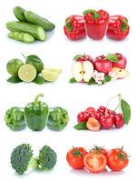 Obst und Gemüse Früchte Apfel Paprika Tomaten Farben Collage Freisteller freigestellt isoliert