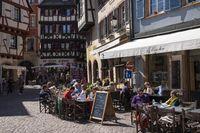 Colmar, sidewalk cafe and wine bar on the Rue des Marchands