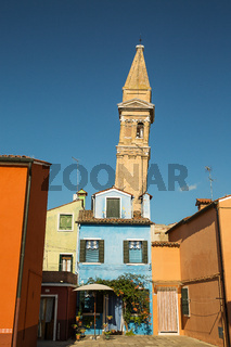 Colorful houses in Burano island , Italy