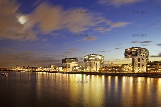 Kranhaeuser on the Rhine riverbank in the evening, Cologne, North Rhine-Westphalia, Germany, Europe