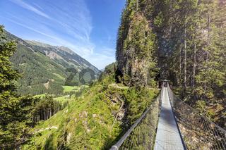 Swing bridge over the Riesach waterfall at Rohrmoos Untertal