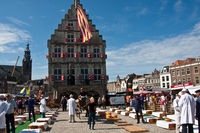 Cheese market in Gouda in the Dutch province of South Holland, and beautiful historic city centre