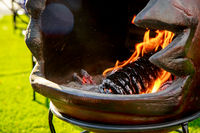 Hot burning charcoal, grill on fire