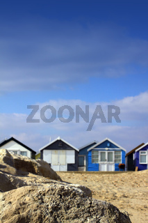 Beach Huts and Rock