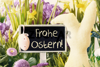 Easter Bunny, Spring Flowers, Frohe Ostern Means Happy Easter