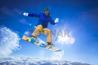 Athlete on a snowboard