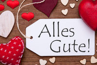 Label, Red Hearts, Flat Lay, Alles Gute Means Best Wishes