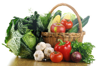 Vegetables and wicker basket