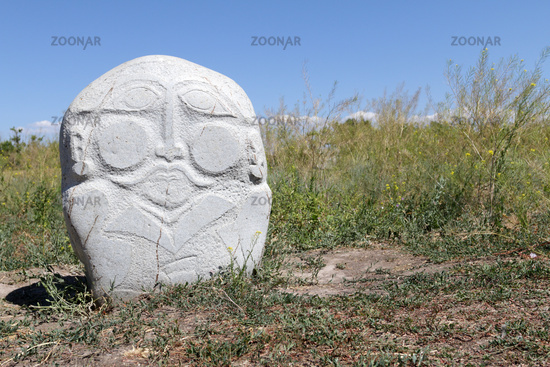 Medieval stone sculpture (Balbal) at Burana Tower, Tokmak, Kyrgyzstan