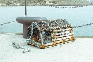 Ein Hummerkorb wartet im Hafen auf seinen nächsten Einsatz.