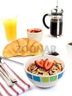 A breakfast tray with fresh coffee