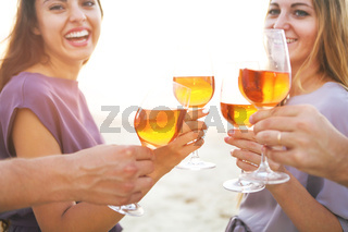 People holding glasses of wine and talking at the beach picnic