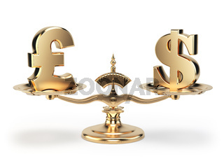 Scale with symbols of currencies UK pound and US dollar isolated on white background.