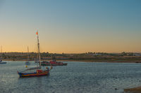 Harbor from Alvor at sunset in Portugal