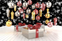 Christmas New Year colorful gift boxes with bows of ribbons and christmas tree gifts on the black background. 3d illustration